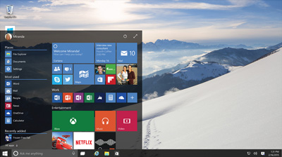 The Windows 10 startscreen