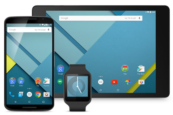 Android Lollipop shown on a smartphone, tablet and smartwatch