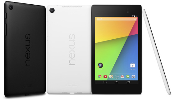 The Google Nexus 7 2013 edition shown in black, white, front and side profile
