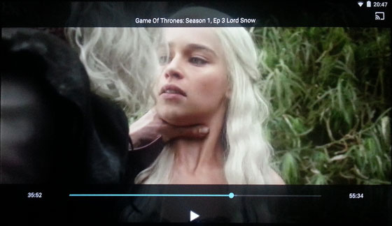 Now TV video playback controls - Game of Thrones